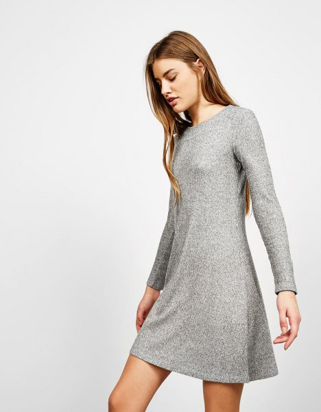 heather grey mini flared ribbed dress