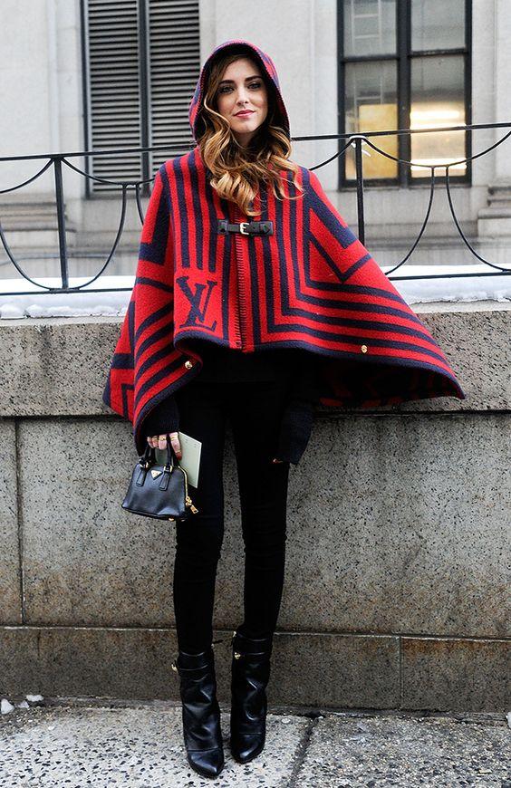 hooded poncho chiara red