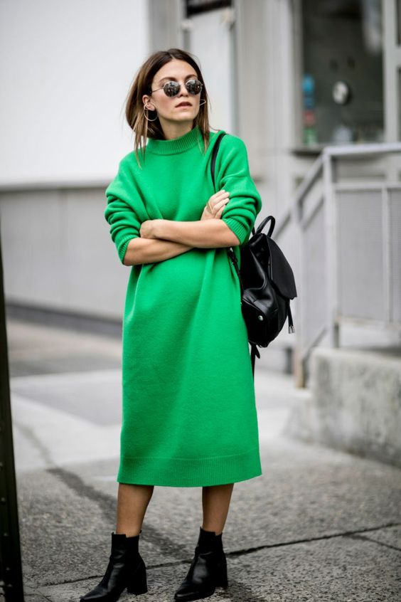 jumper dress grass green