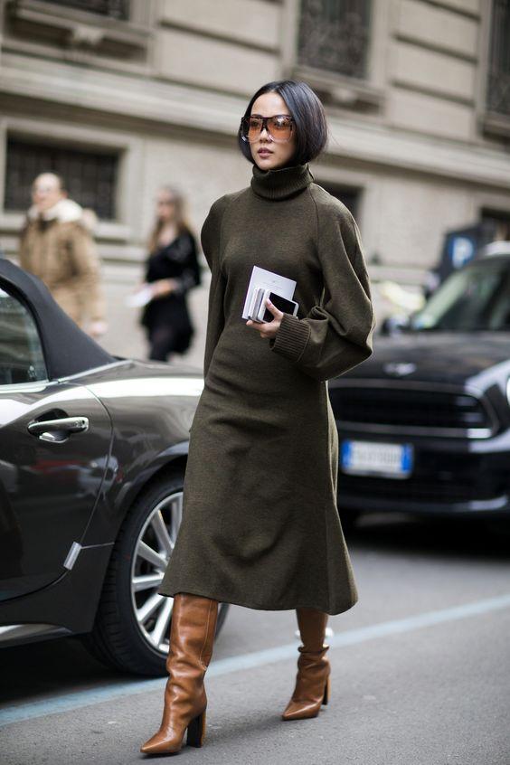jumper dress olive brown