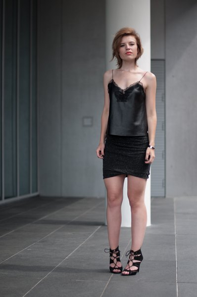 lace camisole black wrap mini skirt