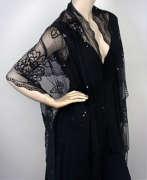 lace shawl black deep v neck bodycon midi dress