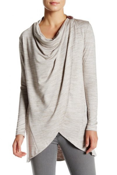 light grey buttoned wrap cardigan