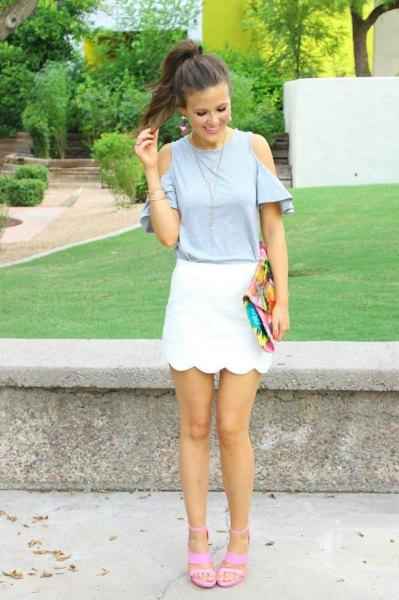 light grey cold shoulder top white scallop mini skirt