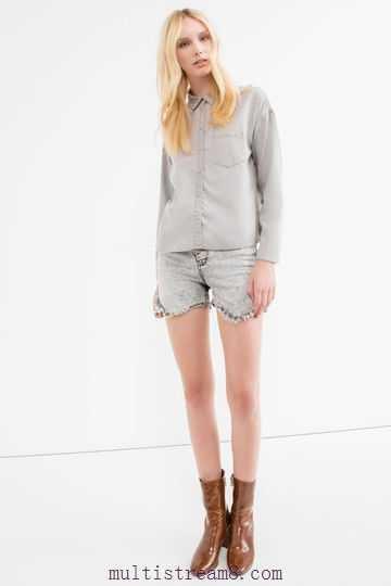 light grey denim shirt mini shorts boots