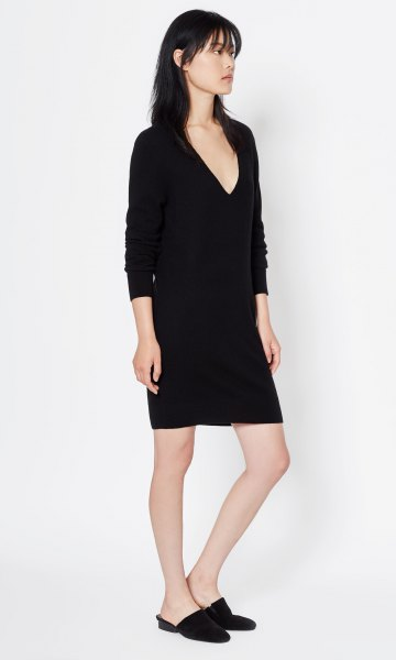 long sleeve black deep v neck cashmere mini dress