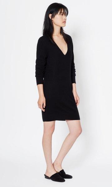long sleeve black deep v neck cashmere mini dress