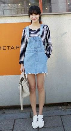 mini denim overall dress black and white striped long sleeve tee