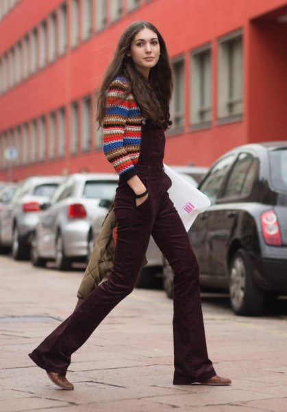 multi color knit sweater brown flared leg velvet overalls