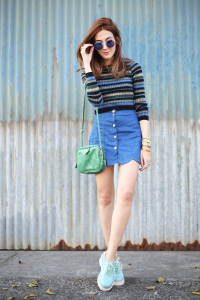 multi color striped sweater blue button front scallop skirt