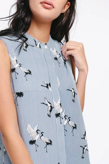 navy and white striped shirt with goose prints