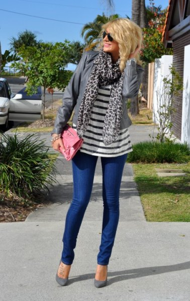 navy and white striped tee grey leopard print scarf