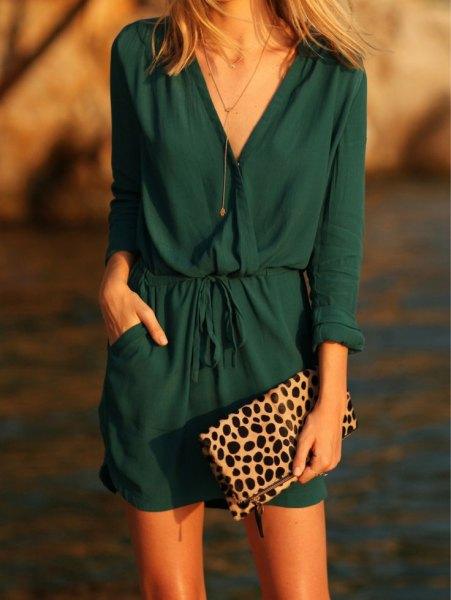 navy blouson linen wrap mini dress
