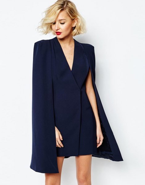 navy deep v neck wrap cape mini dress