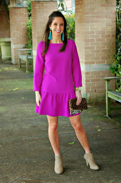 neon pink long sleeve mini dress grey boots