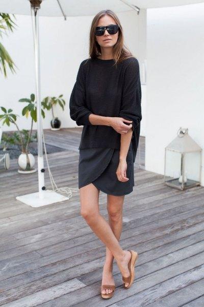 nude platform slide sandals black sweater wrap skirt