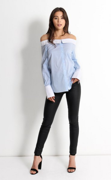 off the shoulder blue pinstripe shirt black skinny jeans