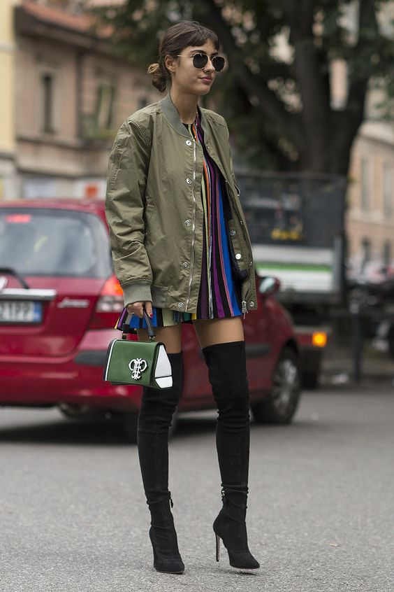 olive green jacket colorful dress