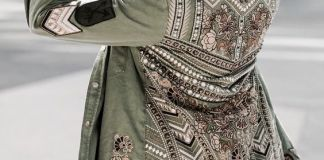 olive green jacket embroidered
