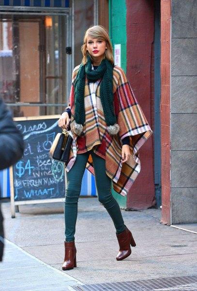 orange and navy plaid wool poncho black knit scarf