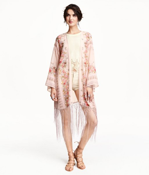 pale pink floral fringe kimono light yellow shorts