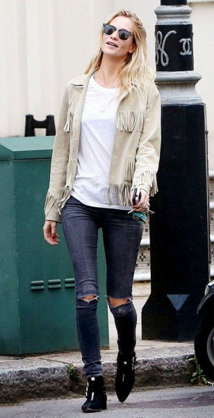 pale pink suede jacket ripped skinny jeans