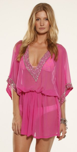 pink gathered waist chiffon cover up dress