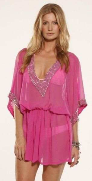 pink gathered waist chiffon cover up dress