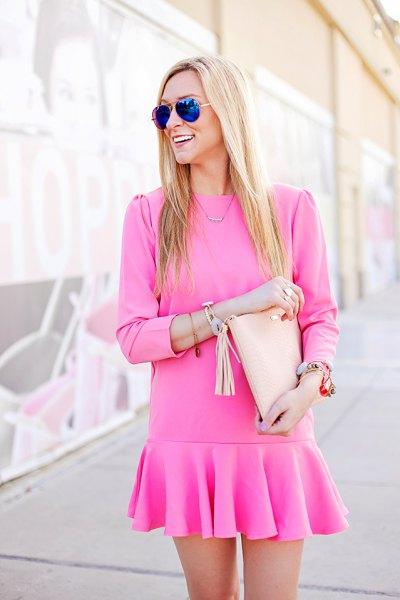 pink long sleeve mini drop waist dress
