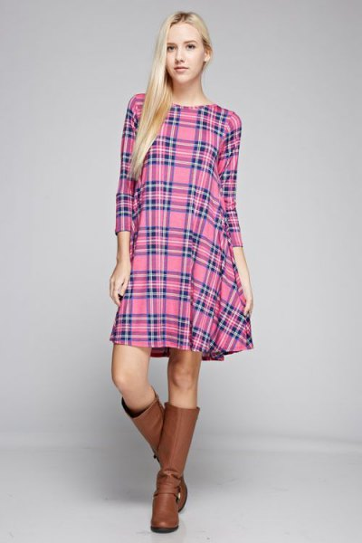 pink plaid tunic brown leather boots