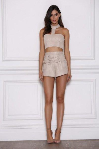 pink suede shorts halter neck crop top