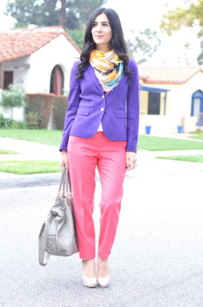 purple blazer hot pink pants