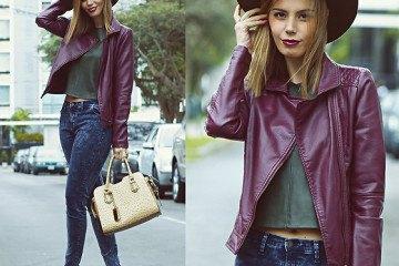 purple leather jacket grey crop top blue jeans