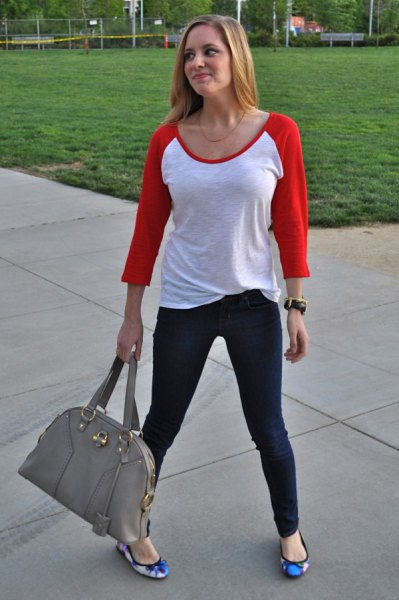 red and white baseball tee with blue floral flats