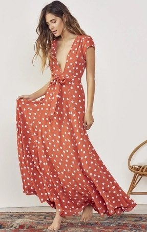 red and white polka dot maxi flared wrap dress
