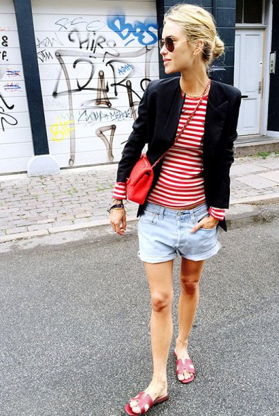 red and white striped t shirt black blazer denim shorts