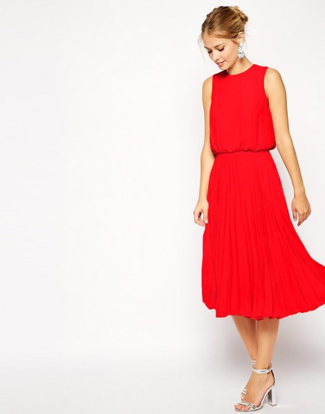 red blouson pleated midi dress