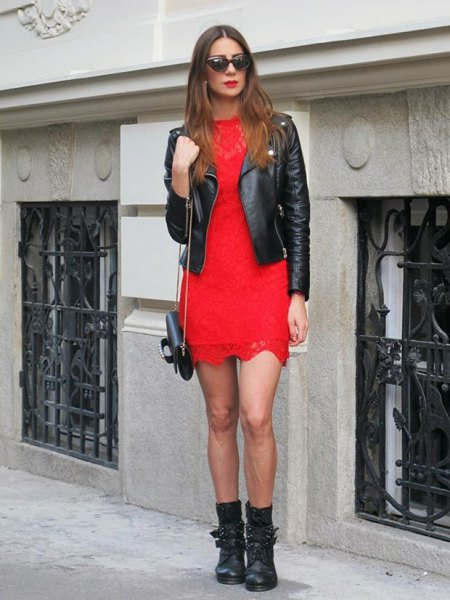 red dress leather jacket black mid calf leather boots
