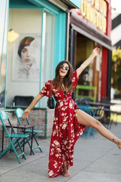 red floral maxi belted wrap dress