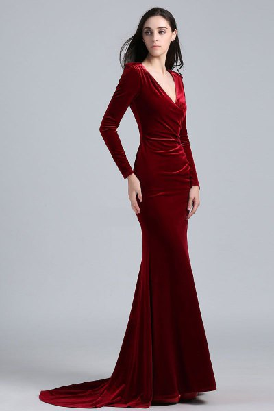 red mermaid velvet v neck dress