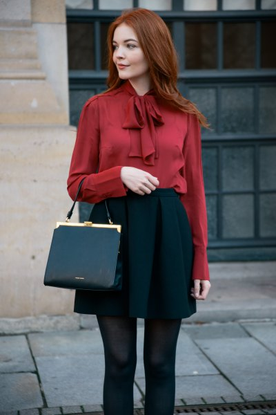 red ribbon bow blouse black skater skirt