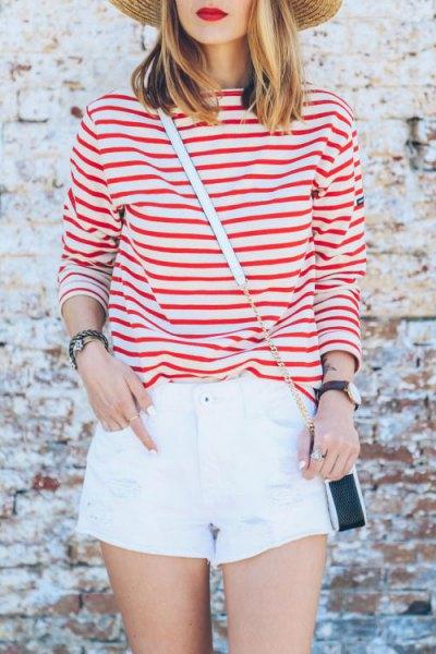 red striped t shirt white mini shorts