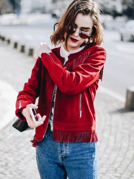 red suede fringe jacket mom jeans