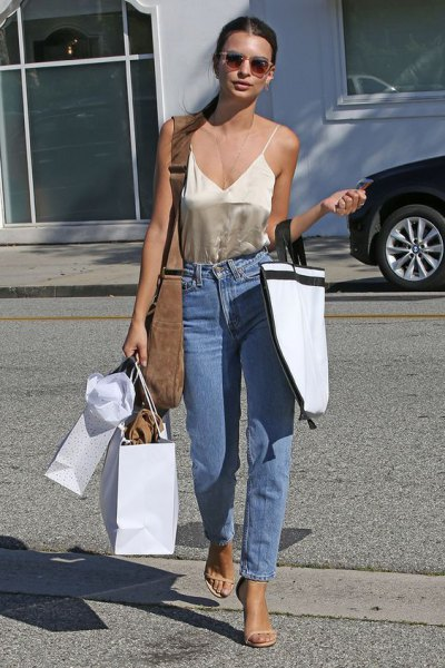 rose gold deep v neck silk camisole mom jeans