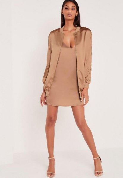 rose gold jacket pink silk deep v neck mini shift dress