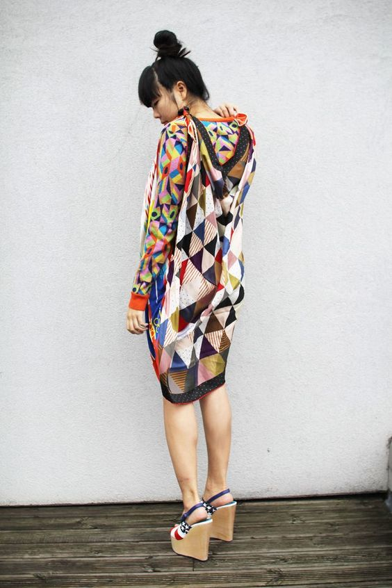 scarf dress splash of colors