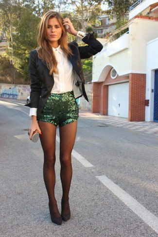 sequin shorts white button up shirt black blazer