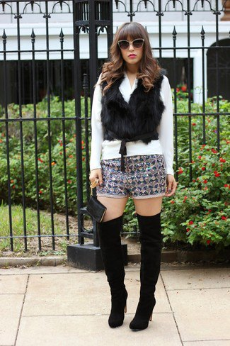 silver and black patterned sequin shorts faux fur vest