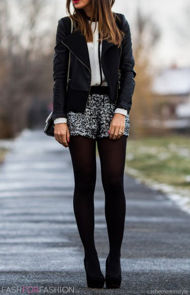 silver and black sequin shorts velvet blazer