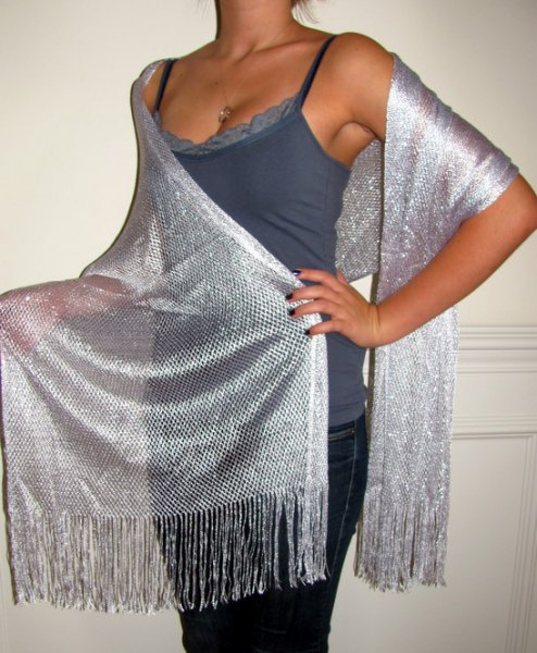 silver mesh shawl purple lace vest top